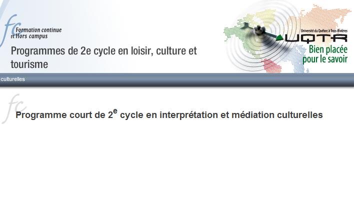 UQTR - Programme court de 2e cycle en interprétation et médiation culturelles
