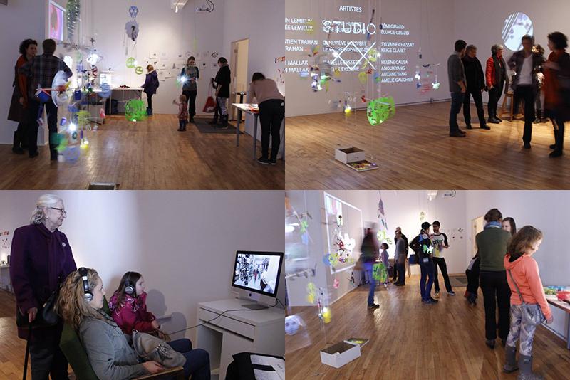 L'ensemble des projets réalisés par les enfants a été exposé au Studio XX le 12 avril 2016. Crédit: Studio XX